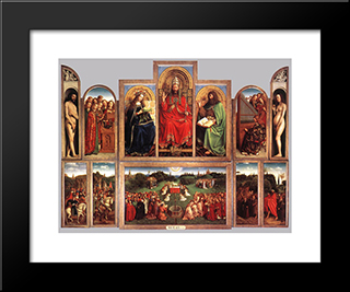 The Ghent Altarpiece (Wings Open): Modern Black Framed Art Print by Jan van Eyck