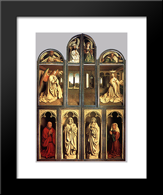 The Ghent Altarpiece (Wings Closed): Modern Black Framed Art Print by Jan van Eyck