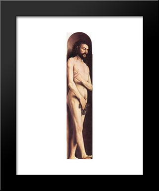 The Ghent Altarpiece: Adam: Modern Black Framed Art Print by Jan van Eyck
