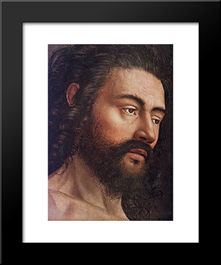 The Ghent Altarpiece: Adam [Detail: 1]: Modern Black Framed Art Print by Jan van Eyck