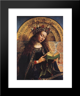 The Ghent Altarpiece: Virgin Mary [Detail]: Modern Black Framed Art Print by Jan van Eyck