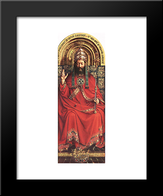 The Ghent Altarpiece: God Almighty: Modern Black Framed Art Print by Jan van Eyck