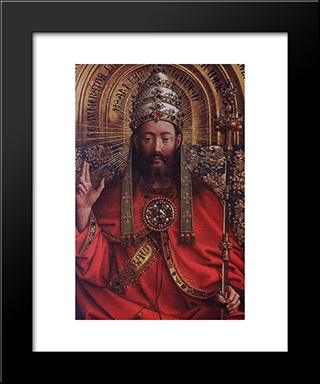 The Ghent Altarpiece: God Almighty [Detail]: Modern Black Framed Art Print by Jan van Eyck