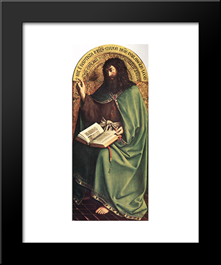 The Ghent Altarpiece: St John The Baptist: Modern Black Framed Art Print by Jan van Eyck