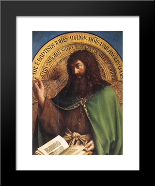 The Ghent Altarpiece: St John The Baptist [Detail]: Modern Black Framed Art Print by Jan van Eyck
