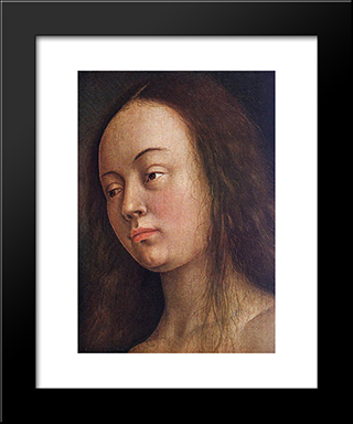 The Ghent Altarpiece: Eve [Detail: 1]: Modern Black Framed Art Print by Jan van Eyck