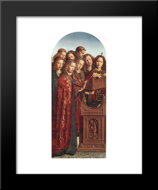 The Ghent Altarpiece: Singing Angels: Modern Black Framed Art Print by Jan van Eyck