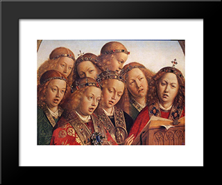 The Ghent Altarpiece: Singing Angels [Detail]: Modern Black Framed Art Print by Jan van Eyck