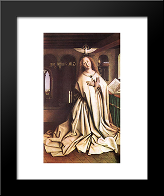 The Ghent Altarpiece: Mary Of The Annuncia: Modern Black Framed Art Print by Jan van Eyck