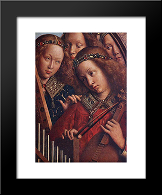 The Ghent Altarpiece: Angels Playing Music [Detail: 2]: Modern Black Framed Art Print by Jan van Eyck