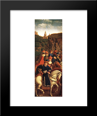 The Ghent Altarpiece: The Just Judges: Modern Black Framed Art Print by Jan van Eyck