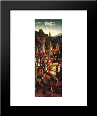 The Ghent Altarpiece: The Soldiers Of Christ: Modern Black Framed Art Print by Jan van Eyck
