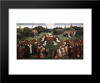 The Ghent Altarpiece: Adoration Of The Lamb: Modern Black Framed Art Print by Jan van Eyck
