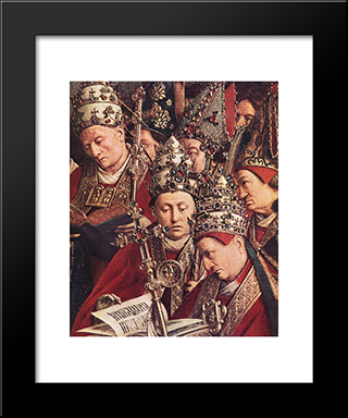The Ghent Altarpiece: Adoration Of The Lamb [Detail: Bottom Right]: Modern Black Framed Art Print by Jan van Eyck