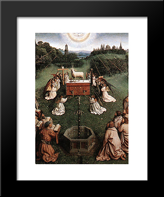 The Ghent Altarpiece: Adoration Of The Lamb [Detail: Centre]: Modern Black Framed Art Print by Jan van Eyck