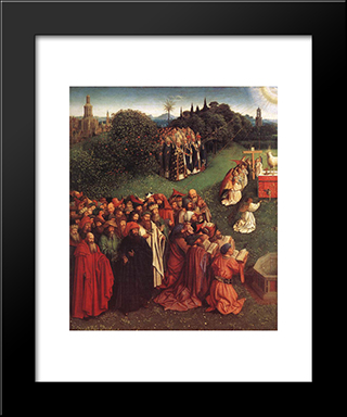 The Ghent Altarpiece: Adoration Of The Lamb [Detail: Left]: Modern Black Framed Art Print by Jan van Eyck