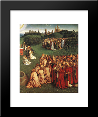 The Ghent Altarpiece: Adoration Of The Lamb [Detail: Right]: Modern Black Framed Art Print by Jan van Eyck