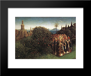 The Ghent Altarpiece: Adoration Of The Lamb [Detail: Top Left 2]: Modern Black Framed Art Print by Jan van Eyck