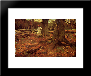 A Girl In White In The Woods: Modern Black Framed Art Print by Vincent van Gogh