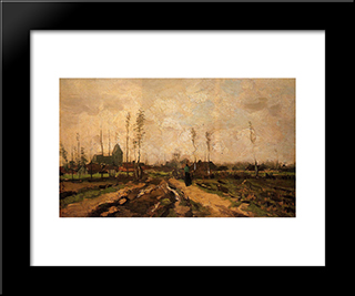 Landscape With Church And Farms: Modern Black Framed Art Print by Vincent van Gogh