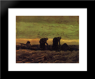 Two Peasant Women In The Peat Fields: Modern Black Framed Art Print by Vincent van Gogh