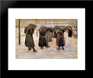 Woman Miners Carrying Coal: Modern Black Framed Art Print by Vincent van Gogh