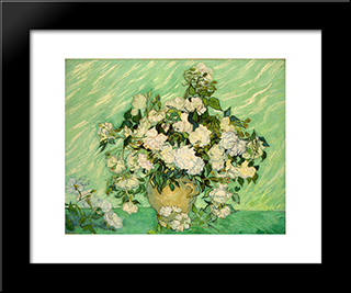 Roses: Modern Black Framed Art Print by Vincent van Gogh