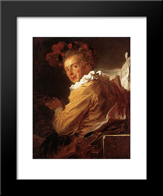 Man Playing An Instrument (The Music): Modern Black Framed Art Print by Jean Honore Fragonard
