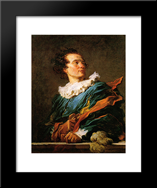 Portrait Of A Young Man: Modern Black Framed Art Print by Jean Honore Fragonard