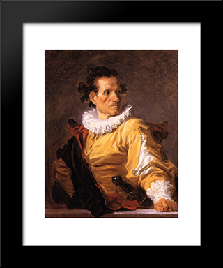 Portrait Of A Man Called 'The Warrior': Modern Black Framed Art Print by Jean Honore Fragonard