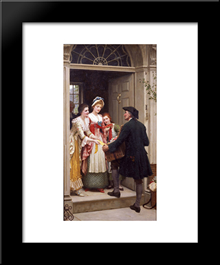 Ribbons And Laces For Very Pretty Faces: Modern Black Framed Art Print by Edmund Blair Leighton
