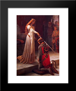 The Accolade: Modern Black Framed Art Print by Edmund Blair Leighton