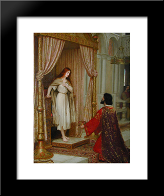 The King And The Beggar'Maid: Modern Black Framed Art Print by Edmund Blair Leighton
