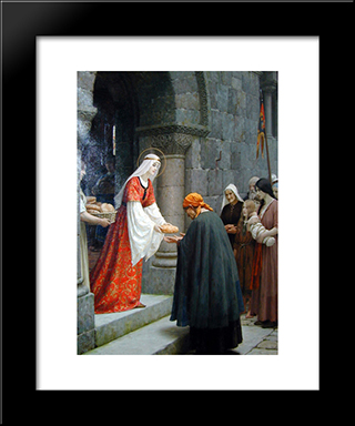 The Charity Of St. Elizabeth Of Hungary: Modern Black Framed Art Print by Edmund Blair Leighton
