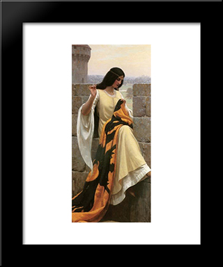 Stitching The Standard: Modern Black Framed Art Print by Edmund Blair Leighton