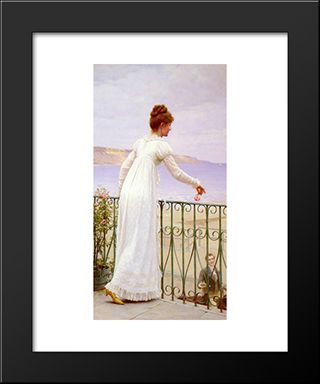 A Favour: Modern Black Framed Art Print by Edmund Blair Leighton