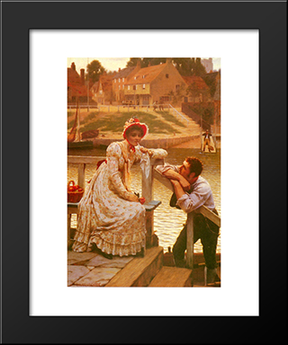 Courtship: Modern Black Framed Art Print by Edmund Blair Leighton