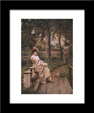 Off: Modern Black Framed Art Print by Edmund Blair Leighton