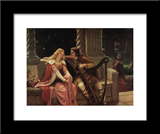 The End Of The Song: Modern Black Framed Art Print by Edmund Blair Leighton