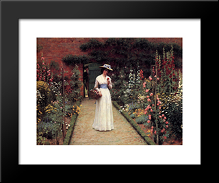 Lady In A Garden: Modern Black Framed Art Print by Edmund Blair Leighton