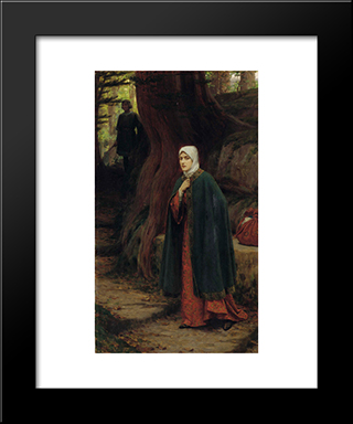 Forest Tryst: Modern Black Framed Art Print by Edmund Blair Leighton