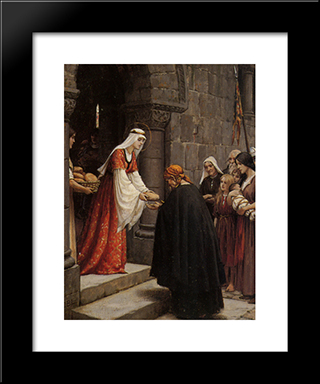 The Charity Of Saint Elizabeth Of Hungary: Modern Black Framed Art Print by Edmund Blair Leighton
