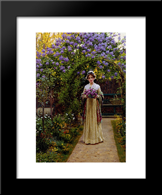 Lilac: Modern Black Framed Art Print by Edmund Blair Leighton