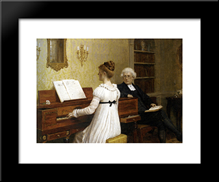 The Piano Lesson: Modern Black Framed Art Print by Edmund Blair Leighton
