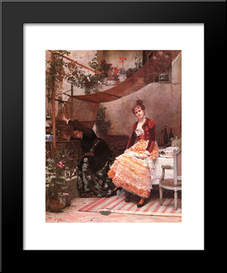 Why Comes He Not ?: Modern Black Framed Art Print by Jehan Georges Vibert
