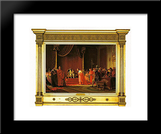 Napoleon And Son: Modern Black Framed Art Print by Jehan Georges Vibert