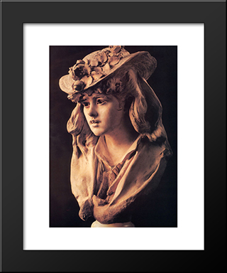 Young Girl With Roses On Her Hat: Modern Black Framed Art Print by Auguste Rodin