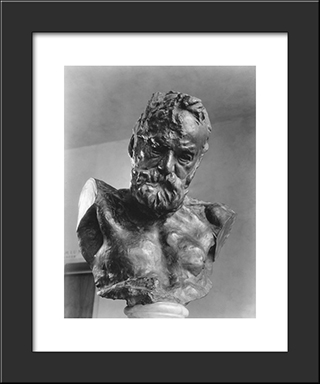 Portrait Of A Man: Modern Black Framed Art Print by Auguste Rodin