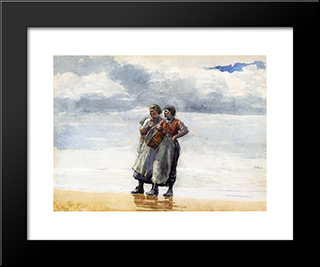 Daughters Of The Sea: Modern Black Framed Art Print by Winslow Homer