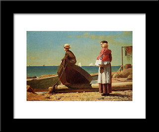 Dad'S Coming!: Modern Black Framed Art Print by Winslow Homer